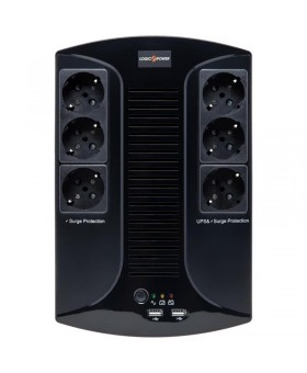 ИБП LogicPower 650VA-6PS, Lin.int., AVR, 6 x евро, пластик
