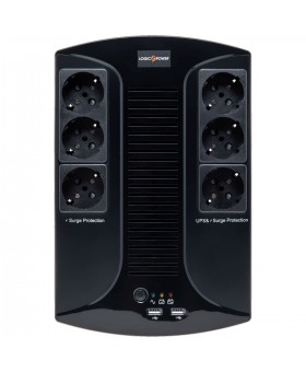 ИБП LogicPower 850VA-6PS, Lin.int., AVR, 6 x евро, пластик